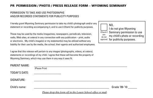 pr permission / photo / press release form - Wyoming Seminary