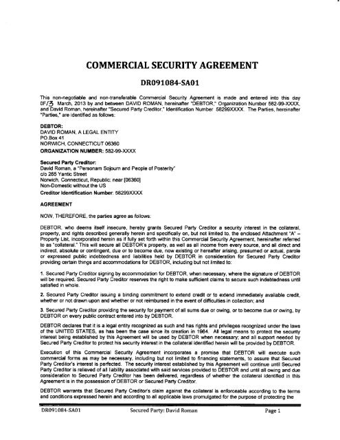 COMMERCIAL SECURITY AGREEMENT - National Republic Registry