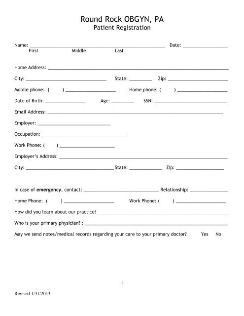 New Patient Registration Form - Round Rock OBGYN