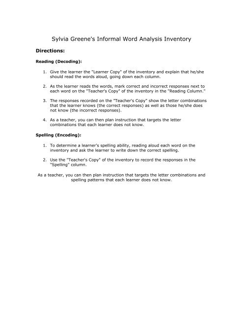 Download Sylvia Greene\u0027s Informal Word Analysis Inventory - LINCS