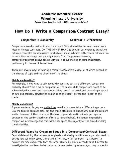 How Do I Write a Comparison/Contrast Essay? - Wheeling Jesuit