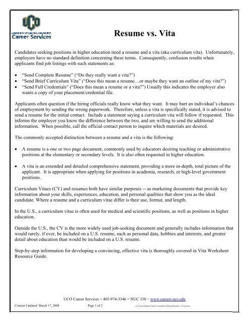 Resume Versus Vita - UCO Career Services