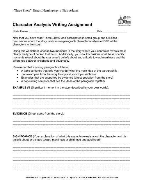Character Analysis Writing Assignment - EDSITEment