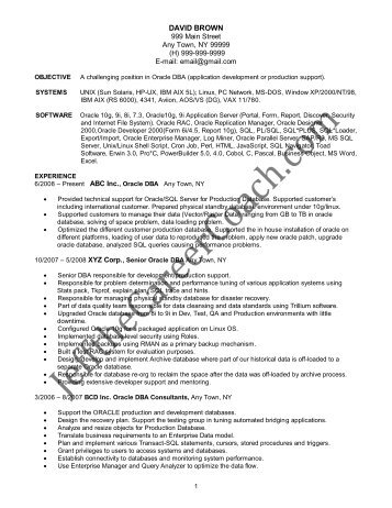 oracle dba cv oracle dba resume samplesrecruitment administrator - Oracle Dba Resume Examples