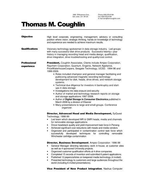 to view Resume - Coughlin Associates