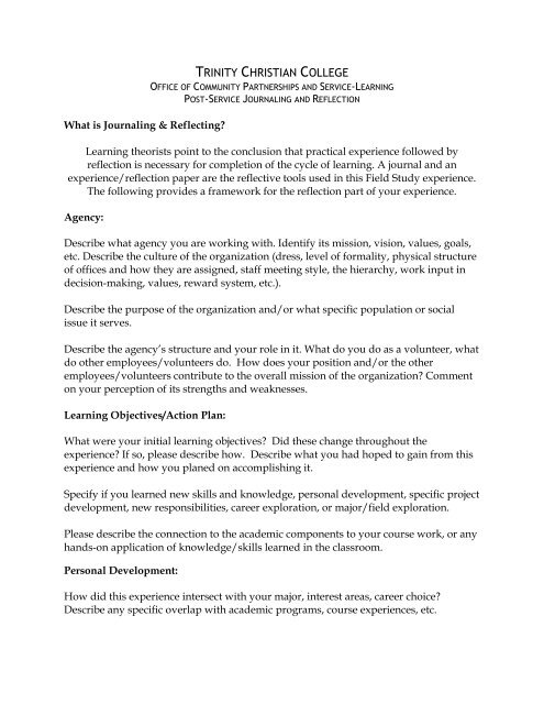 Service Learning Journal Reflection Sample - Trinity Christian College