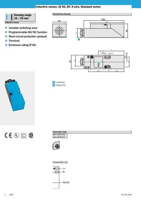 Inductive sensor, IQ 40, DC 3-wire, Standard series Sensing range