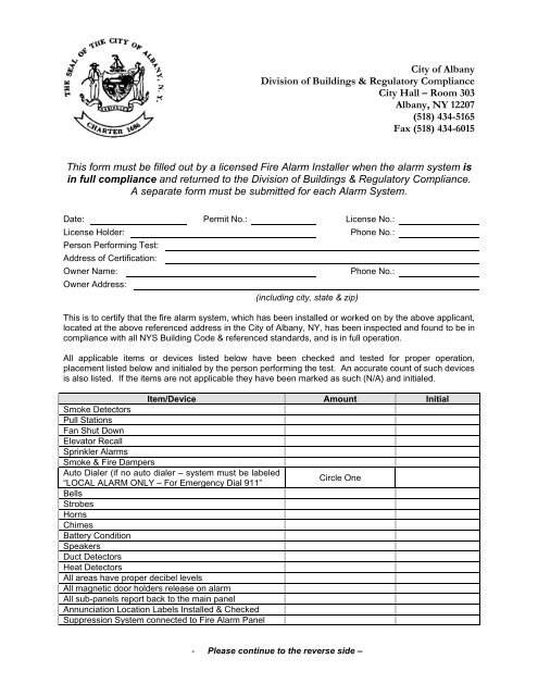 Fire Alarm Sign Off form - City of Albany