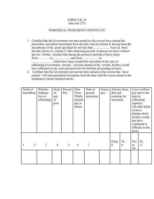 FORM TR 24 (See rule 272) PERIODICAL INCREMENT