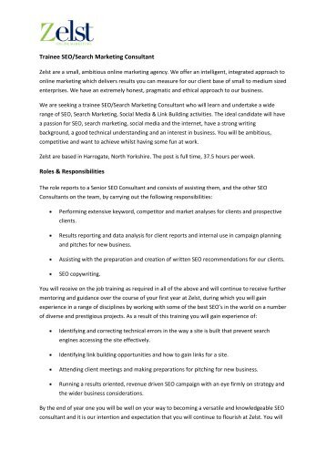 Marketing consultant responsibilities, social media marketing - marketing consultant job description
