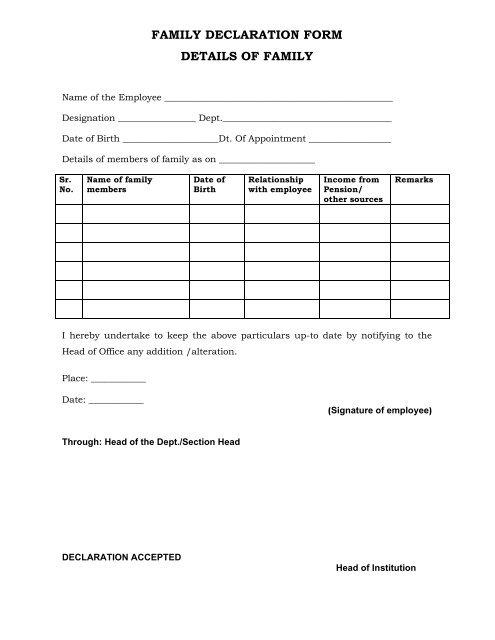 FAMILY DECLARATION FORM DETAILS OF FAMILY - VNIT