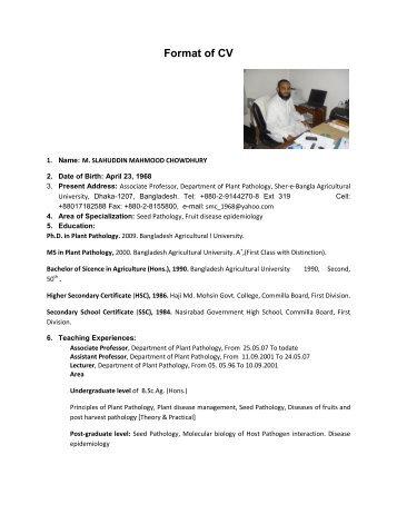 plant pathologist sample resume