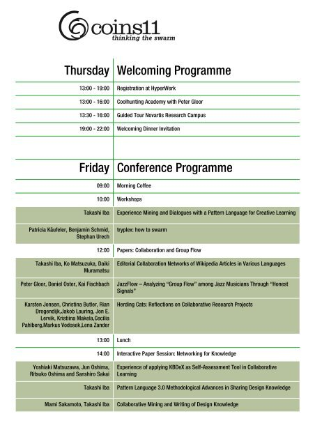 Thursday Welcoming Programme Friday Conference Programme