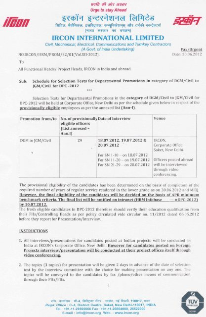 Interview schedule  provisional eligibility list for promotion