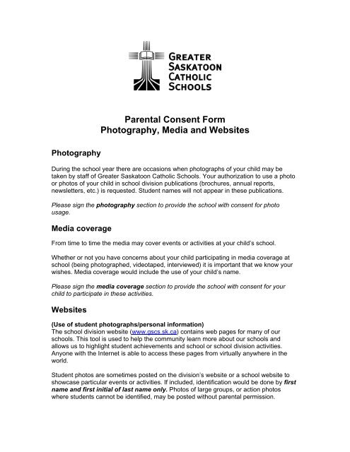 Parental Consent Form Photography, Media and Websites - Greater