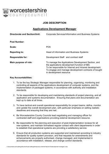Director Software Development Job Description / Manual Consultor