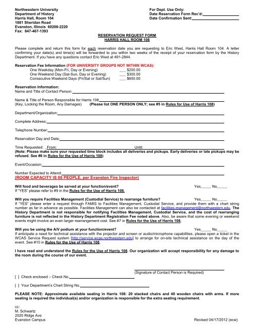 Harris 108 Reservation Request form and Rules for Use