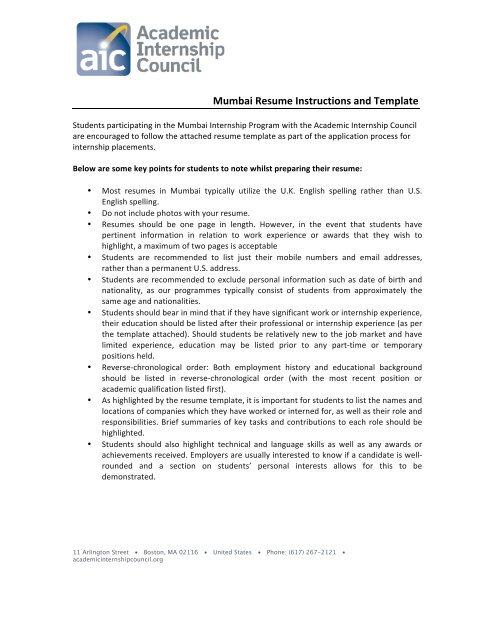 Mumbai Resume Instructions and Template - Berkeley Study Abroad