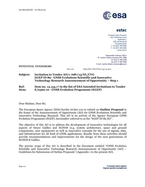 GNSS Science AO Cover letter - Announcement of Opportunity - ESA