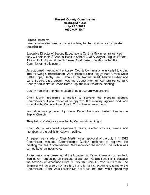 Russell County Commission Meeting Minutes
