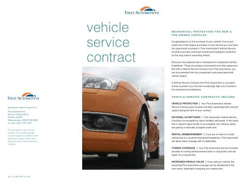 vehicle service contract - Rockledge Securities