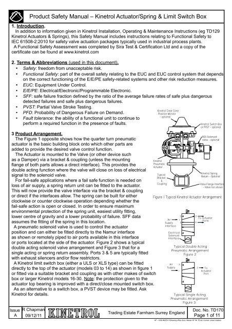 Product Safety Manual â\u20ac\u201c Kinetrol Actuator/Spring  Limit Switch Box