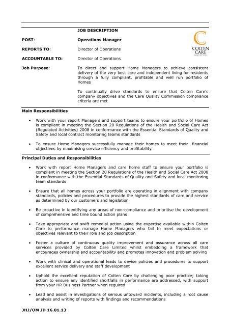 Job Description Operations Manager 2013 - Colten Care