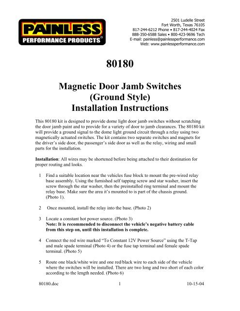 Magnetic Door Jamb Switches (Ground Style - Painless Wiring