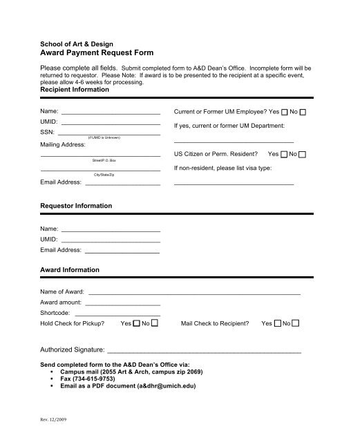 Award Payment Request Form - University of Michigan School of Art