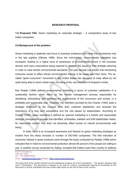 RESEARCH PROPOSAL 10 Proposed Title Green marketing on