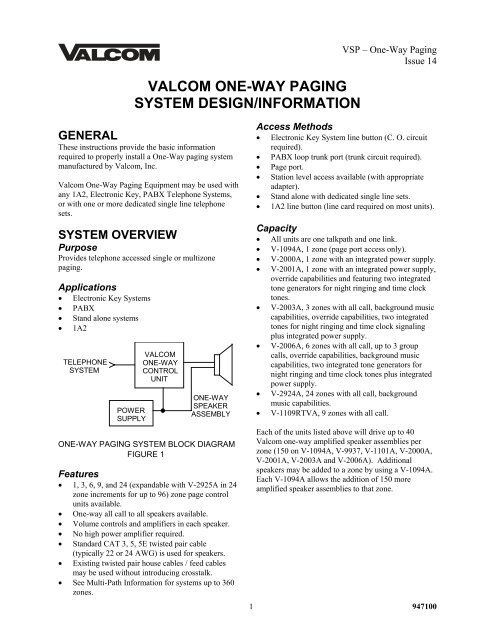valcom one-way paging system design/information - Accu-Tech