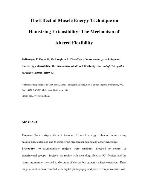 THE EFFECT OF MUSCLE ENERGY TECHNIQUE ON HAMSTRING
