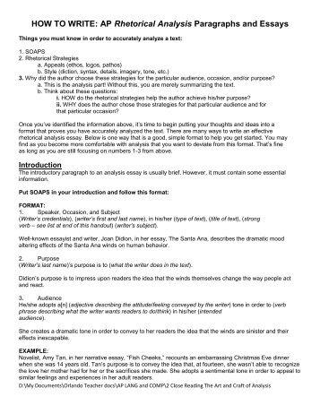 rhetorical essay format