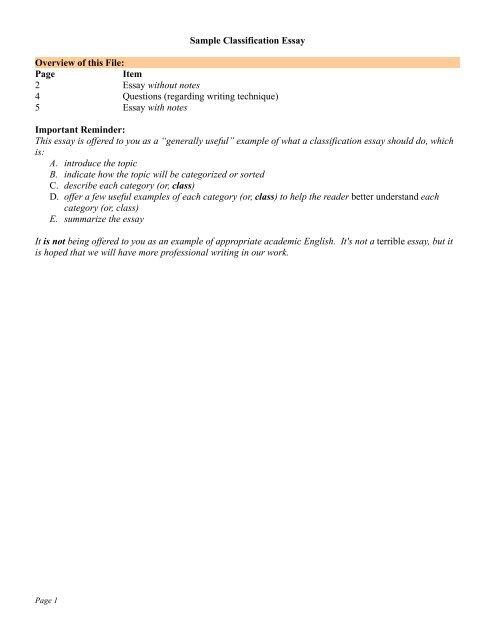 classification essay sample - Pinarkubkireklamowe