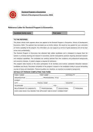 Recommendation Letter From Professor Of Economics Recommendation Letter Phd Economics Sample Cover Letter