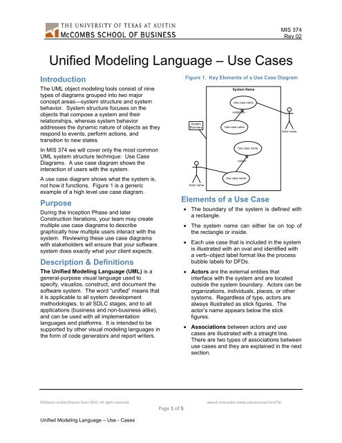 Unified Modeling Language  Use Case Diagrams - McCombs