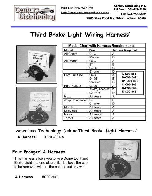 Third Brake Light Wiring Harness\u0027 - Century Distributing, Inc