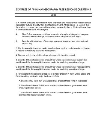 Ap human geography essay questions 2013 - Research paper Sample