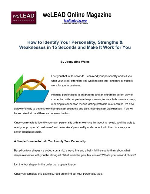 How to Identify Your Personality, Strengths  Weaknesses in 15