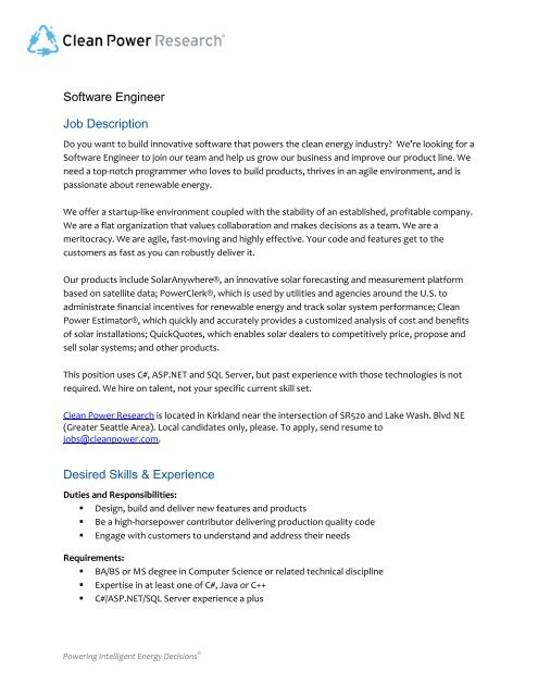 Software Engineer Job Description Desired Skills  Experience
