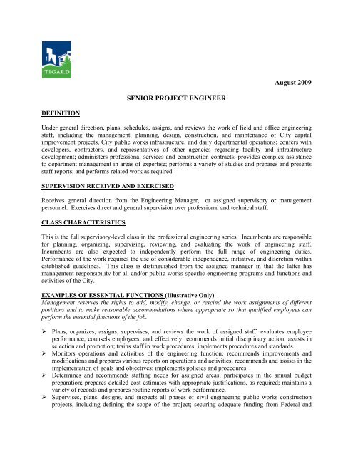Job Description Sr Project Engineer - City of Tigard