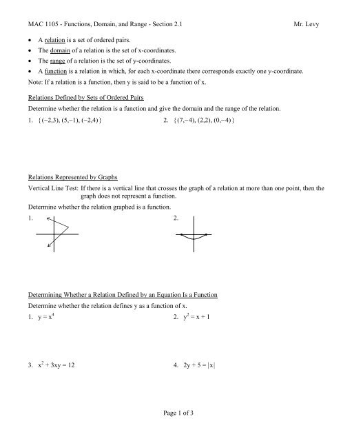 MAC 1105 - Functions, Domain, and Range - Section 21 Mr Levy