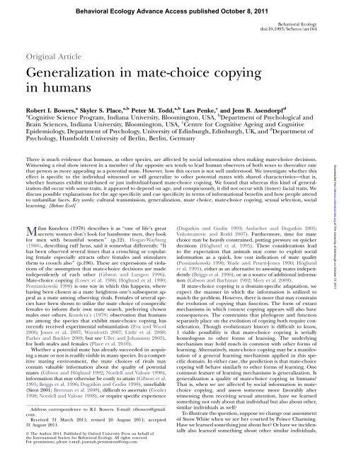 Generalization in mate-choice copying in humans - Lars Penke
