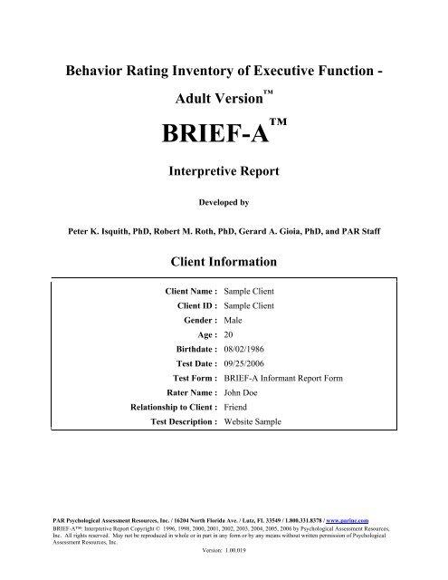 BRIEF-A Informant Interpretive Report - Psychological Assessment