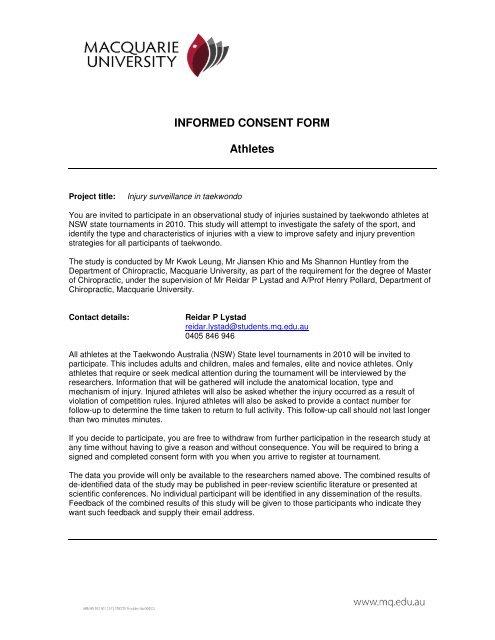 INFORMED CONSENT FORM Athletes - Taekwondo NSW