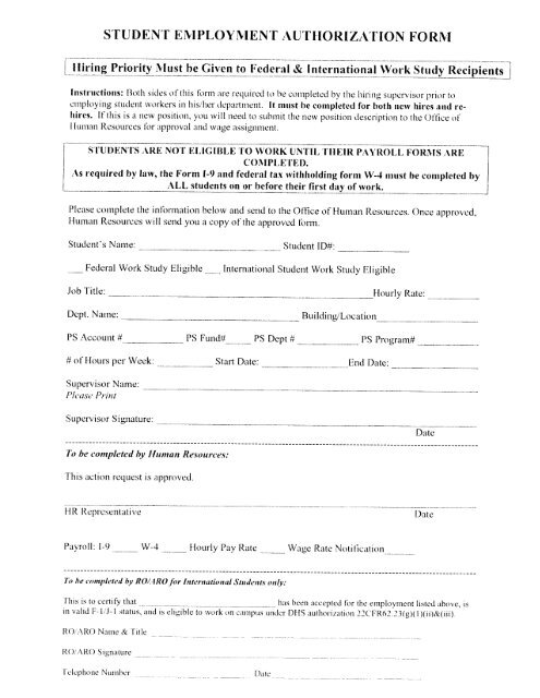 STUDENT EMPLOYMENT AUTHORIZATION FORM