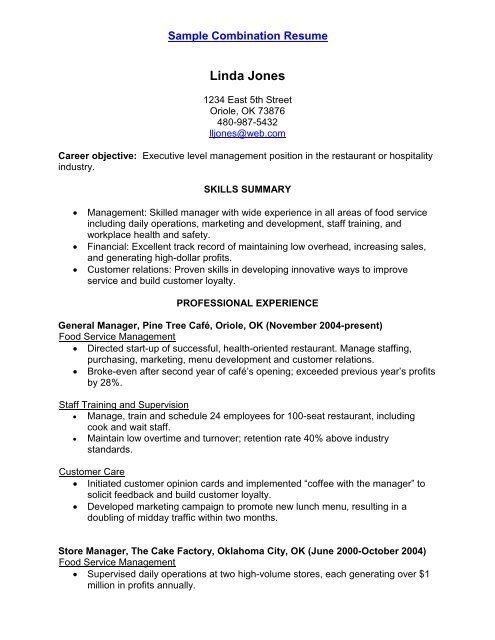 Sample Combination Resume - AARP WorkSearch