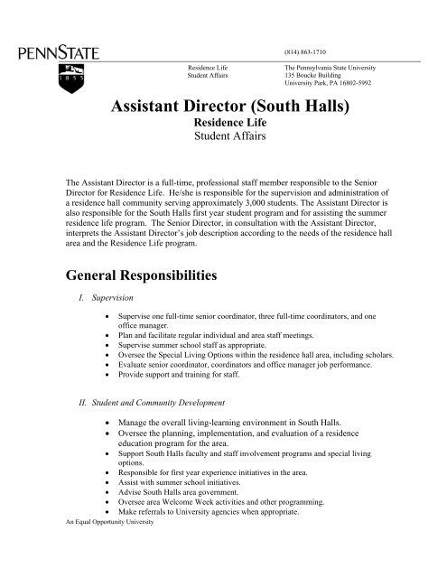 South Assistant Director job description - Student Affairs