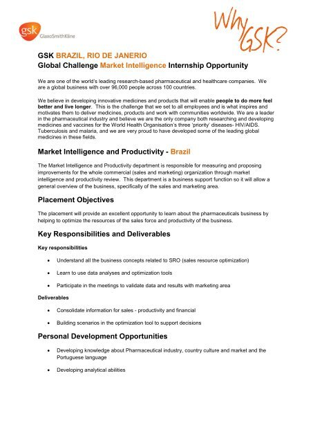 GSK market intelligence internship job description (PDF - 87KB)