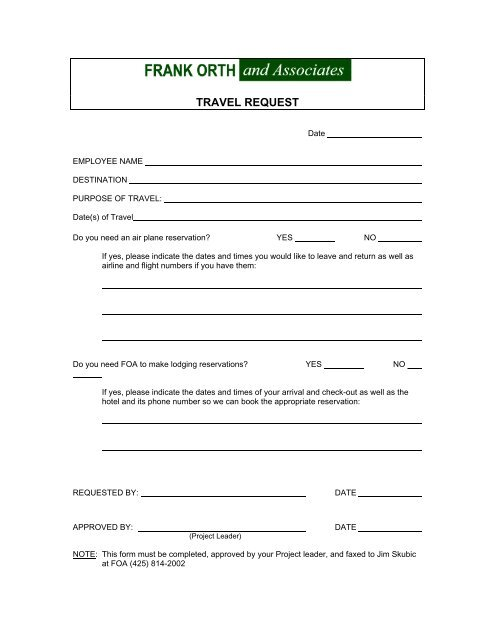 Travel Request Form - Frank Orth and Associates